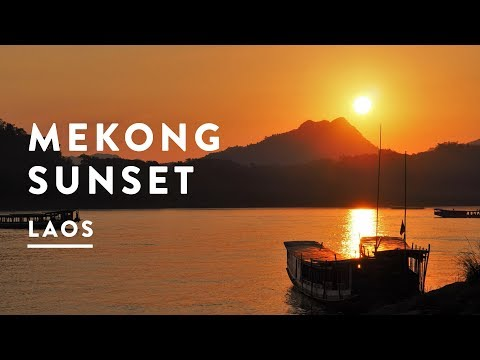LAOS SUNSET ON THE MEKONG RIVER  | Vientiane Travel Vlog 044, 2017