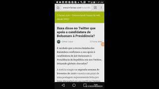 Xuxa disse no twitter que apoia a candidatura de Bolsonaro à presidência