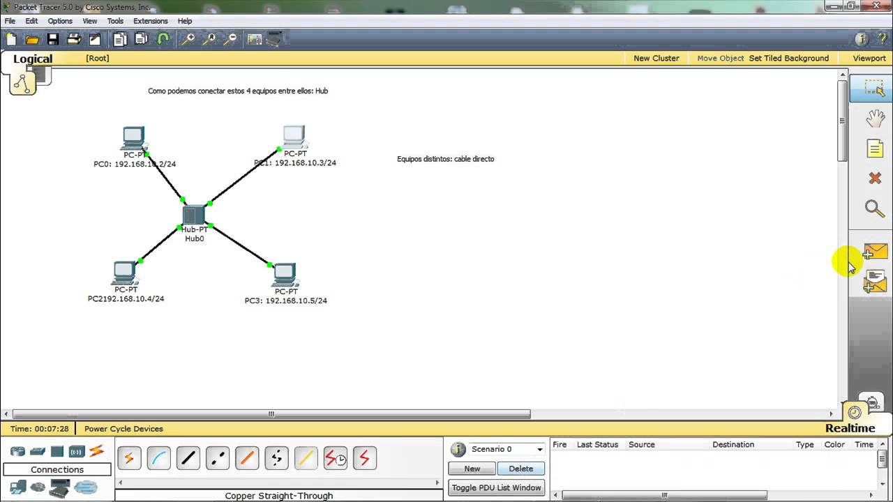 Packet Tracer Conectar Dos Equipos Con Cable Cruzado O Directo Hub Y Switch
