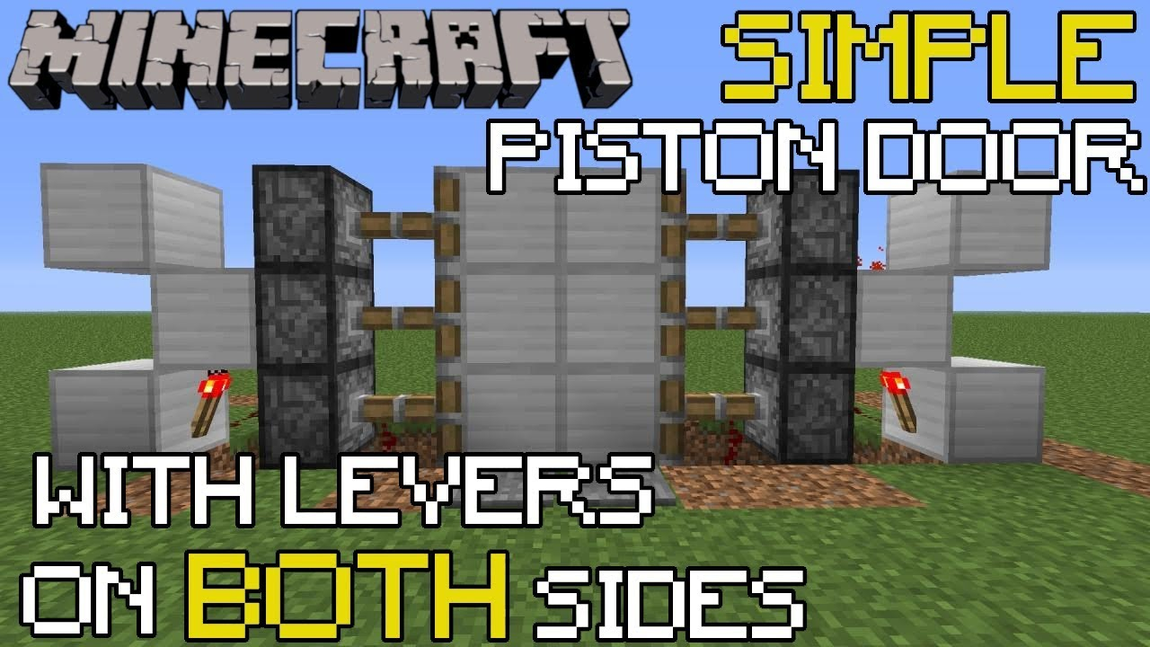 Minecraft Piston Door Tutorial Opens w/ Lever on Both Sides