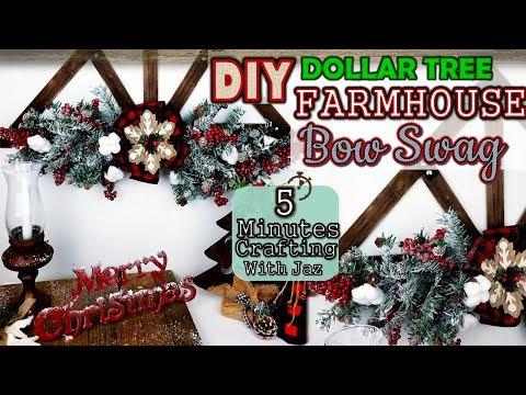 DOLLAR TREE FARMHOUSE CHRISTMAS BOW SWAG DIY | 5 MINUTES CRAFTING No. 19