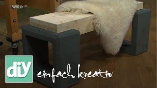 Kleine, schicke Gartenbank aus Holz und Beton | DIY einfach kreativ