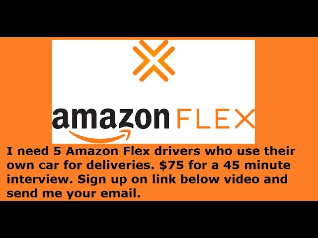 I need 5 Amazon Flex Drivers who use their own car  $75 for 45 min  interview link below.