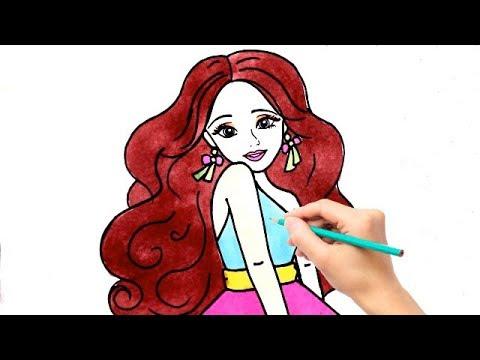 Cara Menggambar Dan Mewarnai Barbie Cantik Untuk Anak Anak Youtube