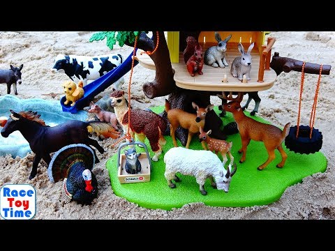 Wild and Farm Animals in the Schleich Tree House Playset For Kids - Learn Animal Names