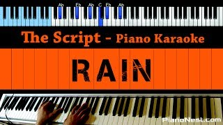 The Script - Rain - LOWER Key (Piano Karaoke / Sing Along)
