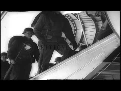 US President Eisenhower and Ambassador Henry Cabot Lodge speak about US intervent...HD Stock Footage