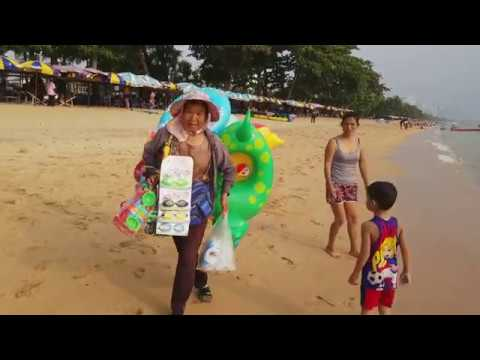 Walking along the golden sands beach, Jomtien Beach Pattaya