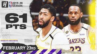 LeBron James & Anthony Davis 61 Points Combined Highlights   Celtics vs Lakers   February 23, 2020