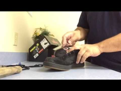 Removing the steel toe of a work shoe