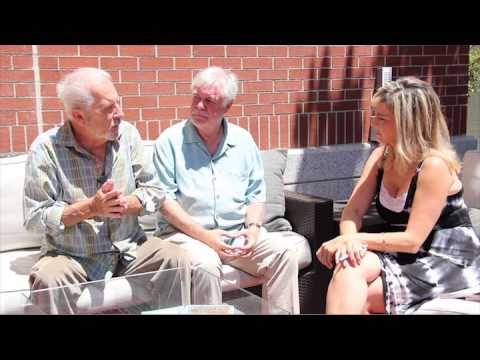 """Jamie Alcroft and Phil Proctor from """"Boomers on a Bench"""""""