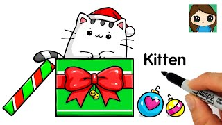 How to Draw a Kitten for Christmas