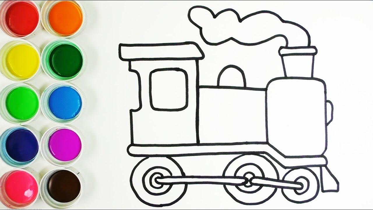 Cómo Dibujar y Colorear Un Tren de Arco Iris - Dibujos Para Niños ...