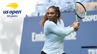 Serena Williams Hits the Practice Court at 2018 US Open