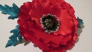 Красивый мак, цветок из ткани своими руками / fabric flowers with his own hands / Мастер класс.