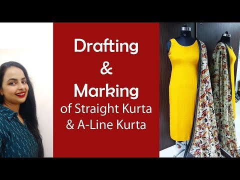Drafting and Marking of Straight Kurta and A-Line Kurta| Part-1| In Hindi|Sewing Lesson 9