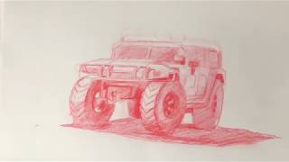 how to draw a car - suv hummer car