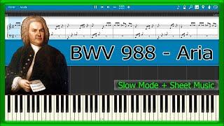 Goldberg Variations, BWV 988 - Aria - Bach [Slow + Sheet Music] (Piano Tutorial)