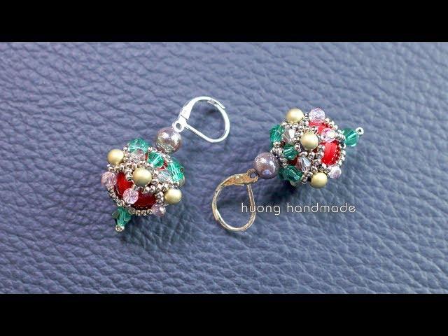 Beaded ball earrings || Diy earrings || How to make beaded earrings