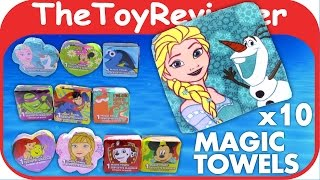 10 Magic Towels Grow Compressed Rag Disks Washcloths Water Unboxing Toy Review by TheToyReviewer