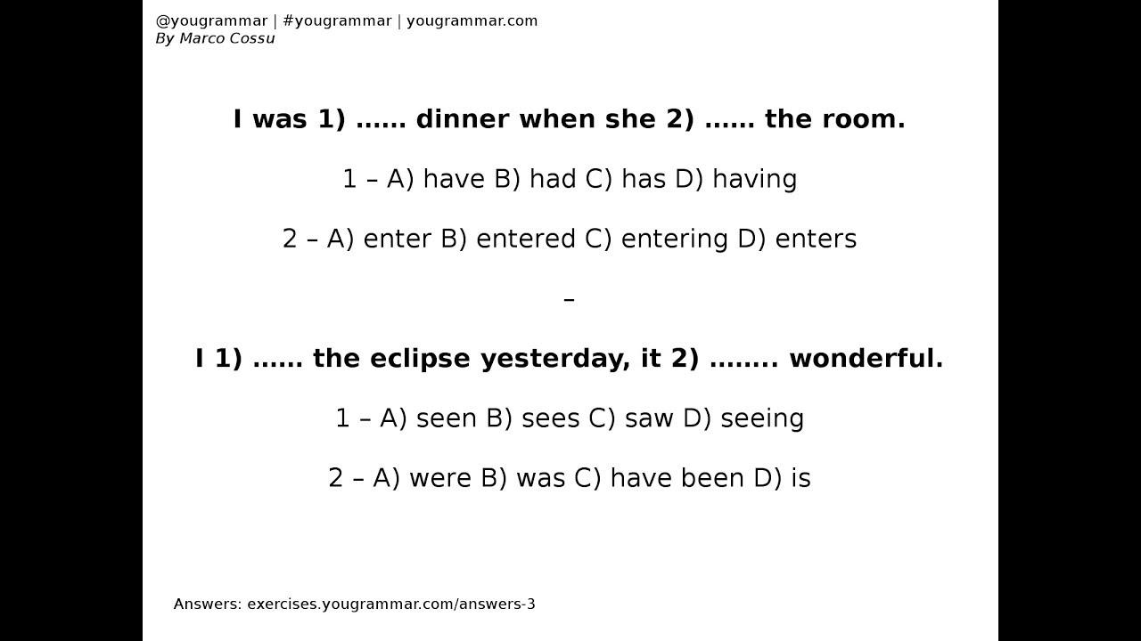 Exercise 3 - Verbs - English Grammar Exercises - Past Tenses - Quiz -  Quizzes