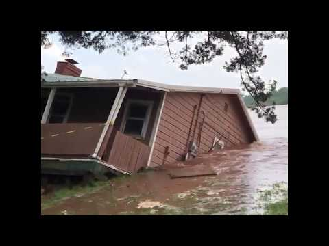 Home swept away by floodwaters in Oklahoma