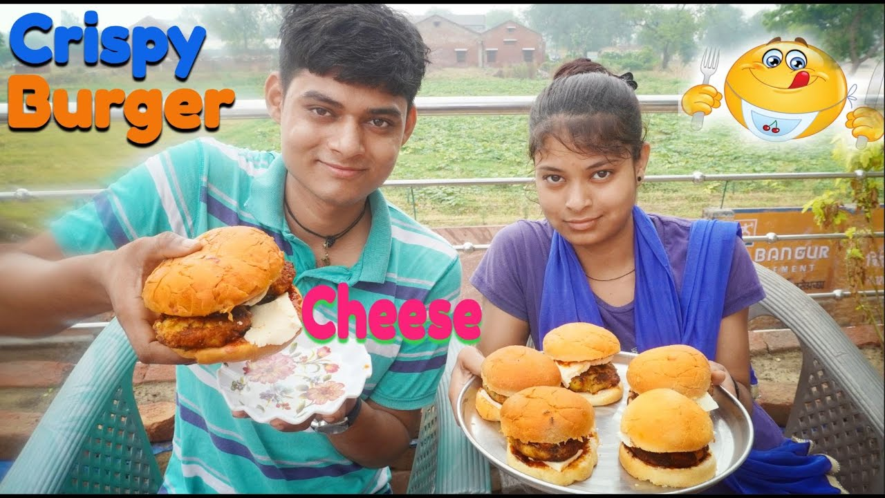 Homemade Crispy Cheese Burger Recipe | Crispy Burger Recipe With Brother & Sister | Burger Recipe