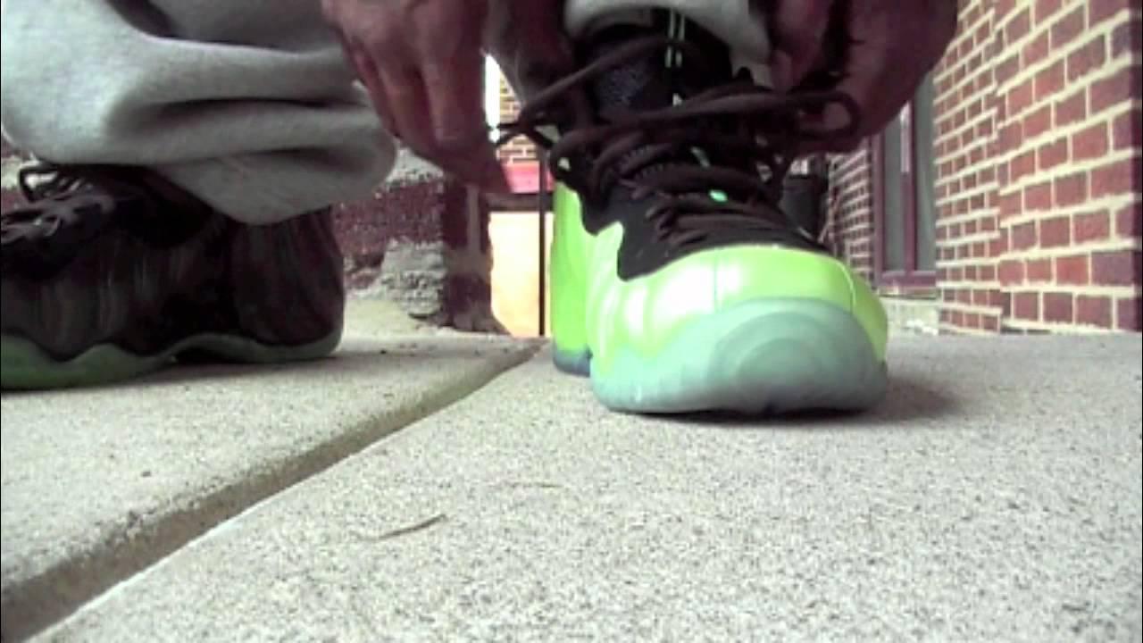 35506b18e8016 Nike Foamposite Electric Green VS Neon Green Comparison Vid - YouTube