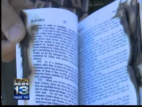 Scorched Qur'an left at Islamic center