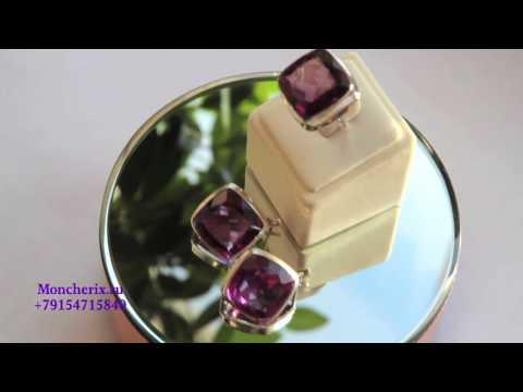 Серебряные серьги и кольцо с александритом Apm6113