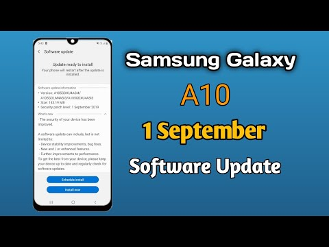 Samsung Galaxy A10 Software Update Android Security Patch Level 01 September 2019