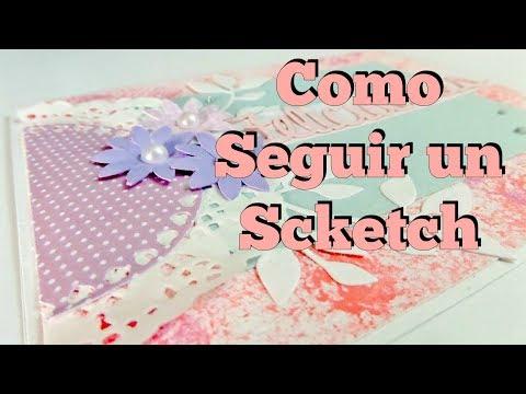 COMO HACER UNA TARJETA SIGUIENDO UN SKETCH / TUTORIAL/ CERECITAS ARTE Y SCRAP thumbnail