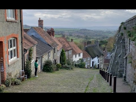 Gold Hill, Shaftesbury, England - above, on and below the famous hill