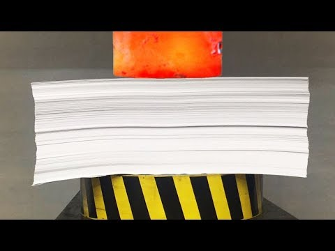 EXPERIMENT Glowing 1000 degree HYDRAULIC PRESS 100 TON vs 1000 Sheets of Paper