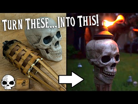 DIY Halloween Props - Flaming Tiki Torch Skulls!