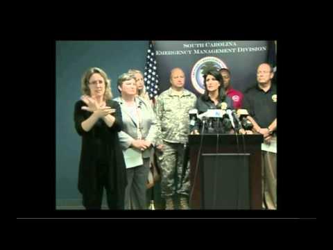 South Carolina Governor Nikki Haley holds presser on state's historic flooding