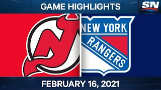 NHL Game Highlights   Devils vs. Rangers - Feb. 16, 2021