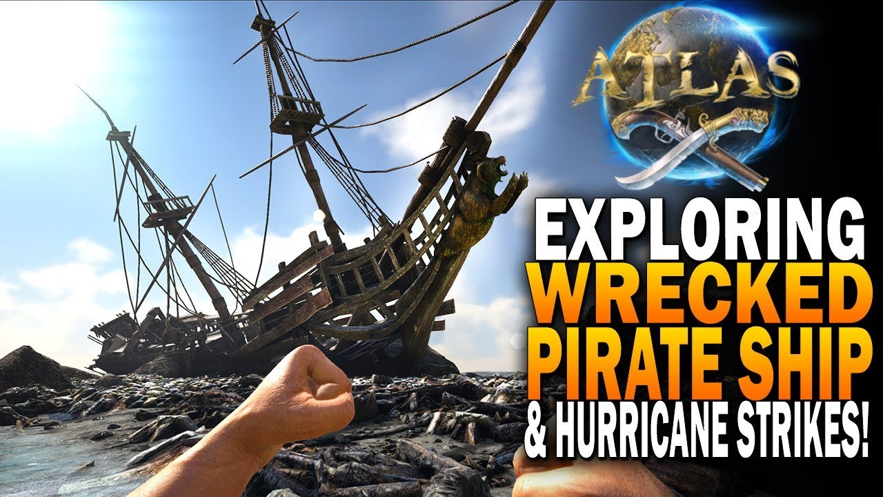 Exploring A Wrecked Pirate Ship And Getting Stuck In a Hurricane! Atlas  Pirate Survival MMO