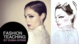 Coco Rocha's portrait in watercolor Thumbnail