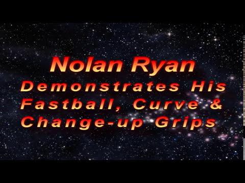 Nolan Ryan Demonstrating His Baseball Grips