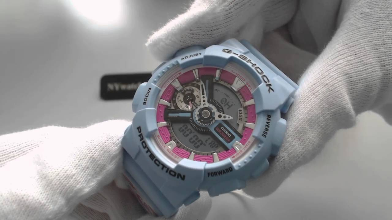 Women s Blue Casio G Shock S Series Watch GMAS110F 2A - YouTube e6a6e65bc7