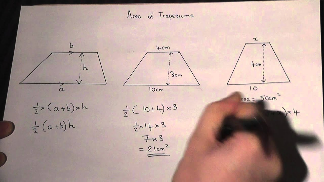 Area Of A Trapezium : How To Calculate The Area Easily : Maths Revision  Video Youtube