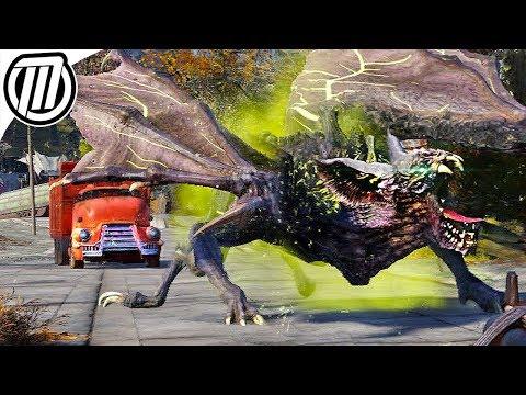 Fallout 76 Gameplay: Hunting the Giant ScorchBeast (Mutant Bat-Dragon!) |