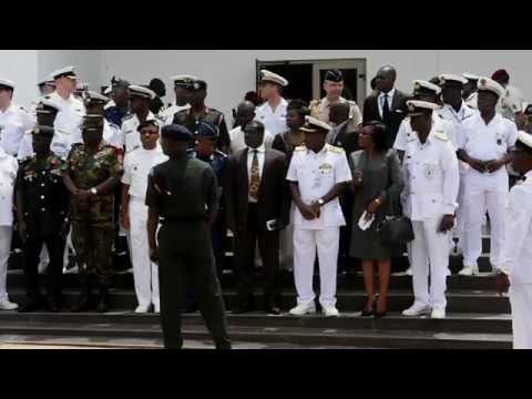 Ghana Navy Flag Officer Fleet, Speaks During Obangame Express 2015 Opening Ceremony