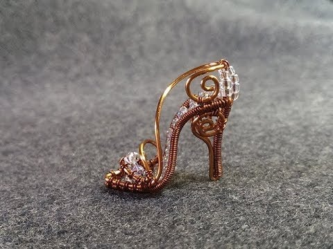 Tutorial wire mini shoe pendant - Cinderella shoe