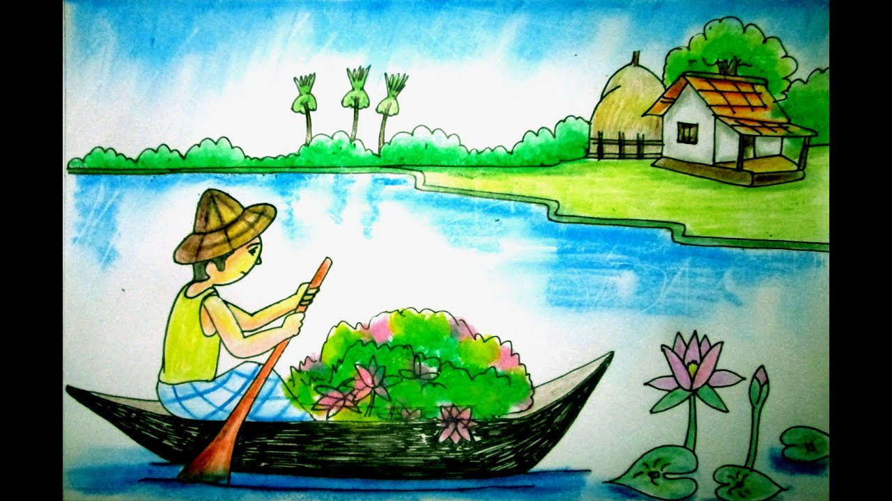 drawing tutorial a scenery of water lily indrajit art school youtube