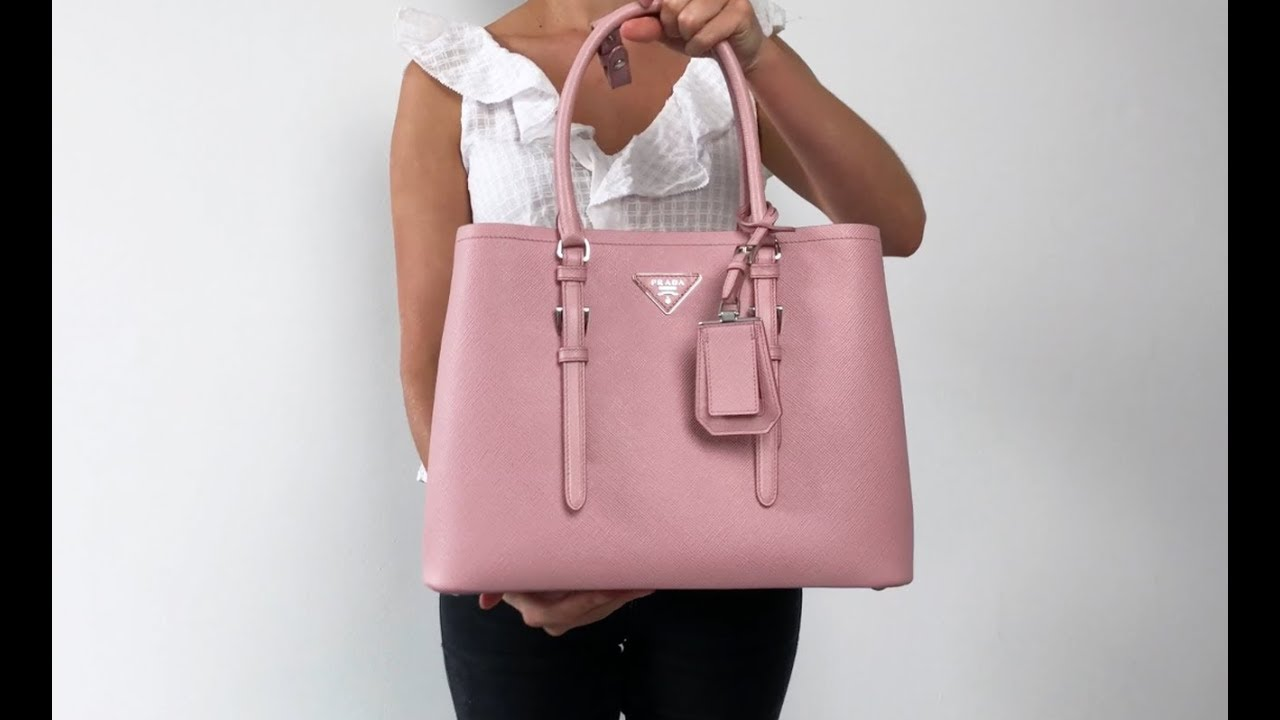 fe0cea25c00e Pink Prada Saffiano Cuir Covered-Strap Double Bag Style Video - YouTube