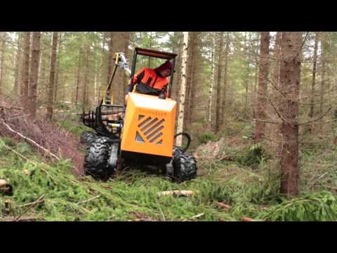 Logbullet | Mini Forwarder In Forest After First Thinning