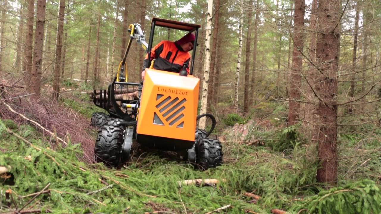 logbullet mini forwarder in forest after first thinning. Black Bedroom Furniture Sets. Home Design Ideas