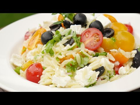 Orzo Salat I Mediterrane Grill-Beilage I Vegetarischer Nudelsalat